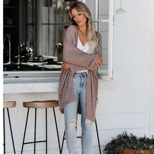 TRISHA Long Knit Pocketed Cardigan